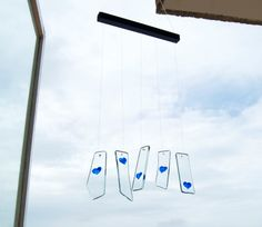 Glass Hearts Wind Chimes - Blue hearts - Love - Hand painted glass