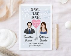 Save the date with custom portraits. Custom by DrawmepleaseShop Save The Date, Getting Married, Floral Arrangements, Wedding Planning, Dating, Invitations, Handmade Gifts, Pretty, Portraits