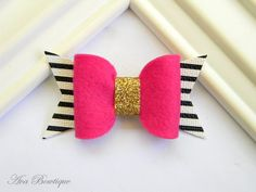 Pink Bow Hair Clip - Bow Hair Clip - Glitter Bow Hair Clip - Glitter Bow Clippie - Gold Glitter Hair Clip - Hot Pink Bow Clippie by AvaBowtiquee on Etsy