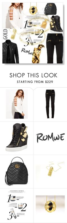 """""""A gold lady"""" by giampourasjewel ❤ liked on Polyvore featuring Balmain, Giuseppe Zanotti, LE3NO and Gucci"""