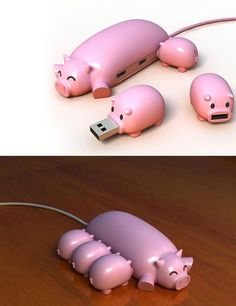 Piggy USB Concept. Too cute, but the transfer speed is poor. #gadget