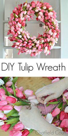 DIY Spring Tulip Wreath for the front door #wreath #spring #tulip #frontdoor