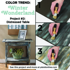 Follow this season's FolkArt Color Trend: Winter Wonderland and learn how to DIY your own green distressed table.