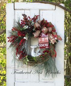 Christmas Wreath for Front Door, Christmas Wreath, Christmas Door Decor, Wreath with Deer, Woodland Decor, Rustic, Plaid Ribbon, Berries by FeatheredNestWreaths on Etsy https://www.etsy.com/listing/478906638/christmas-wreath-for-front-door