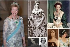 "The Greek Emerald Tiara. In 1926 with emeralds inherited from Q Olga (her husband - K George II's grandmother), Q Elisabeth had Cartier create a kokoshnik tiara of 5 cabochon emeralds set between stylized mirrored diamond ""E"". Before that she wore a single emerald in a bandeau or had several emeralds across her forehead as part of a leafy bandeau. After exile and divorce with no children, he tiara was left to Q Frederika, wife of K Pavlos I, younger brother of George."