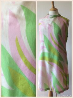 Vintage 1960s Pastel Pink and Green Silk Shift Dress by Cabinet49