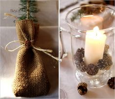 oh my gosh, on my last wedding we did this! Small pinecones holding a candle in its place...love it!