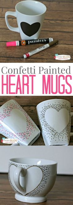 So denkst du jeden morgen an deine/n Liebsten! DIY Confetti Painted Heart Mugs are fun and easy to make. Great for a Valentines Day gift, or just show your love of coffee. Valentines Bricolage, Valentine Day Crafts, Holiday Crafts, Valentines Mugs, Valentine Ideas, Craft Gifts, Diy Gifts, Diy Becher, Saint Valentin Diy