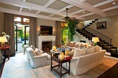 C.B.I.D. HOME DECOR and DESIGN: WINDOWS, WALLS, CEILINGS AND FLOORS.....beautiful living room with coffered ceilings
