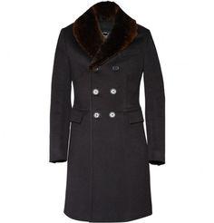 Burberry Prorsum Rabbit Collar Wool-Blend Coat