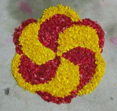 Done with marigold and rose petals Rangoli Designs Flower, Colorful Rangoli Designs, Rangoli Designs Images, Rangoli Designs Diwali, Flower Rangoli, Flower Mandala, Flower Designs, Flower Art, Door Flower Decoration