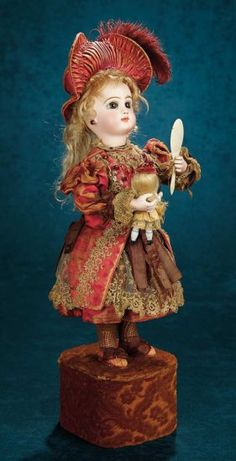 """French Musical Automaton """"Little Girl with Doll and Mirror"""" by Leopold Lambert 8000/11,000 