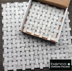 $11.75 a Square Foot and Free Shipping Italian Carrara Bianco Honed Basketweave with Bardiglio Gray Dot available online from The Builder Depot.