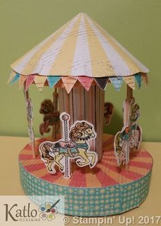 Cupcakes & Carousels Stampin' Up! Rubber stamping, Papercraft, 3D Merry-Go-Round, Paper Carousel