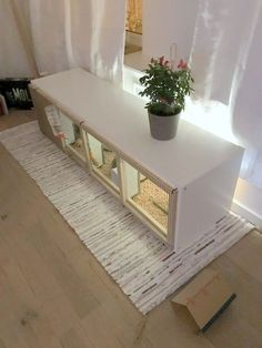 DIY rabbit house from IKEA KALLAX