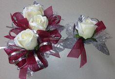 Burgundy Red Silk Corsage n Boutonniere Set by FlorescenceByDesign, $26.95