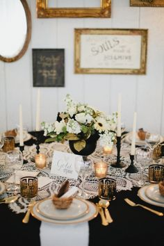 Wow!  White lace over a black tablecloth is both unexpected and dramatic, and looks so glamorous with gold accents.  (Bonus: most venues offer black or white linens for free!) Vintage Gold Black and Lace Tablescape