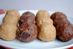 Chocolate Peanut Butter Balls: 1/2 c oats (partially process to make finer), 1/4 c PB, 1/4 c honey, 2Tbs cocoa powder (or flax or wheatgerm), OPTIONAL 3T choc. chips