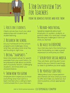 Job Interview Advice for Teachers: 5 Administrators Share Their Insights What do principals look for when interviewing prospective teachers? Five administrators share their own personal Do's and Don'ts of the teaching job interview. Interview Tips For Teachers, Teacher Job Interview, Teacher Interviews, Jobs For Teachers, Job Interview Tips, Interview Techniques, Job Interviews, Resumes For Teachers, Teachers College