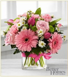 proudly presents the Better Homes and Gardens Blooming Visions Bouquet. Offer them a bouquet blooming with a Fresh Flowers, Spring Flowers, Beautiful Flowers, Romantic Flowers, Deco Floral, Arte Floral, Beautiful Flower Arrangements, Floral Arrangements, Bloom