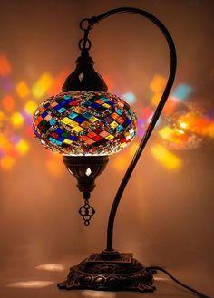 TURC Lampe cygne fait main marocain table mosaïque verre coloré étoile bleue
