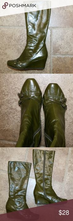 """Miz Mooz olive green zip up boots Miz Mooz olive green boots. Leather upper. 3"""" heel. Zip up.  Some wear on the back of the heels as shown in the pictures. Miz Mooz Shoes Heeled Boots"""