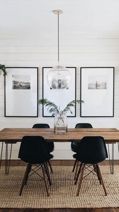 black and white dining room woven rug shiplap walls glass globe pendant light Black And White Dining Room, Ship Lap Walls, Home Look, Home Furnishings, Home Furniture, Furniture Design, Family Room, Sweet Home, Interior Design