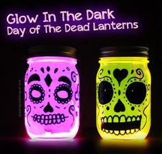 Easy Glow In The Dark Day of The Dead DIY Lanterns, Dia de los Muertos, Halloween, crafts