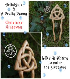 Here is the Christmas giveaway from Artis Ignis / A Pretty Penny! Our Xmas gift to you is this gorgeous hand cut coin and this beautiful hand carved hair fork, both representing the universal symbol of the Triquetra. To enter this giveaway you need to go to our Facebook page https://www.facebook.com/ArtisIgnis and LIKE & SHARE this photo. The winner will be chosen at random on the 10th December ON FACEBOOK. It's not mandatory, but we'd recomend you like the Fb pages to get the updates! :)