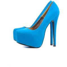 AX Paris Blue Faux Suede Platform Shoe (64 BRL) ❤ liked on Polyvore featuring shoes, pumps, heels, sapatos, zapatos, high heels, high heel platform pumps, high heel shoes, platform heels pumps and heel pump