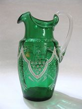 Antique Victorian Glass Pitcher with Hand Painted Enamel