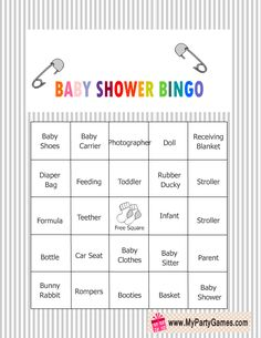 Baby Shower Bingo Game Cards in Grey Color