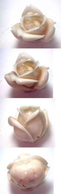 Coral 110793: Nos Antique Genuine Undyed Carved Coral Natural Huge Rose Flower Stone #Ok59 -> BUY IT NOW ONLY: $299.99 on eBay!
