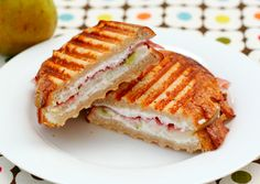 Pear, prosciutto and goat cheese panini