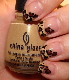 Leopard print french manicure