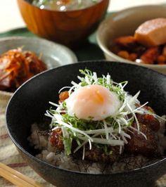 Healthy | tuna poke top with soft boiled egg shredded organic scallion