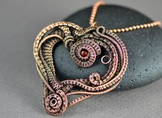 Wire wrapped pendant heart wire weave copper wire by OrioleStudio very Nicole Hanna