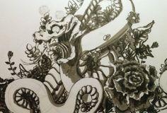 snake and flowers tattoo flash illustration