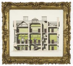 Pablo Bronstein, Interior scheme in Cuban mahogany and tropical green 2011 Ink and watercolour on paper in artist's frame 138 x 152 cm / x in (framed) Bethnal Green, Architectural Elements, Cuban, Contemporary Art, Art Gallery, Tropical, Watercolour, Architecture, Drawings