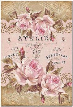 Pretty in pink Decoupage Vintage, Decoupage Paper, Vintage Paper, Vintage Labels, Vintage Ephemera, Vintage Postcards, Background Vintage, Paper Background, Vintage Artwork