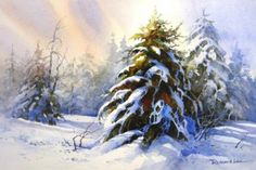 Snowy Trees , Watercolor Painting of Winter Scene - Watercolor Paintings by Roland Lee