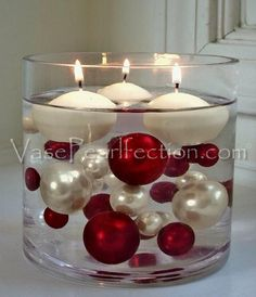 120 No Hole Red & White Pearls w/ Gems Accents-Jumbo/Assorted Sizes Vase Decorations and Table Scatters The red pearls and white gems float in clear water gels for awe inspiring centerpieces. Great for weddings, birthday parties, graduations and more! Christmas Table Centerpieces, Candle Centerpieces, Vases Decor, Xmas Decorations, Wedding Decorations, Christmas Balls, Christmas Time, Christmas Crafts, Christmas Ornaments