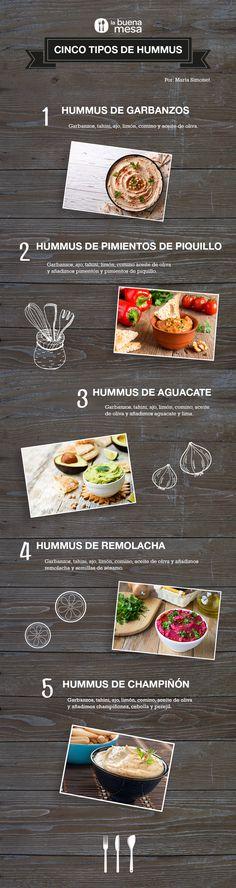 Cinc tipus d'hummus: cigrons, pebrot, alvocat, remolatxa i xampinyons