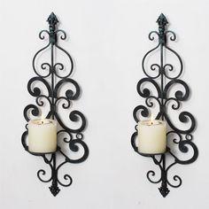 Adeco Decorative Iron Vertical Wall Hanging Pillar Candle Holder (Set of 2) (distressed blue-black iron), Black