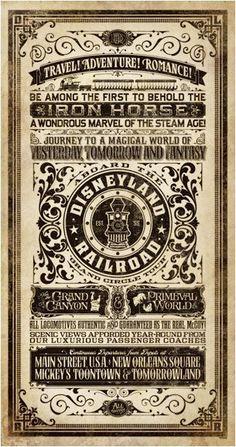 Jeremy Fulton Mechanical Kingdom Disneyland Railroad Walt Disney World Victorian Steampunk poster print art artist Vintage Labels, Vintage Ads, Vintage Images, Vintage Logos, Vintage Typography, Typography Poster, Typography Inspiration, Graphic Design Inspiration, Vintage Type