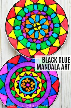 Stock up on school glue when back to school shopping at @walmart to make this gorgeous black glue mandala art project for kids. Printable Templates included. Fun summer kids craft, art projects for kids, black glue art and process art for kids. #ad