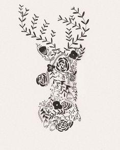 Free Flower Deer Printable & iPhone Wallpaper :: Garland of Grace