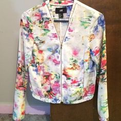 A fun colorful print zip up jacket Polyester fitted zip up jacket, the perfect item to complete your look! H&M Jackets & Coats