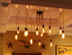 Really cool Edison Light Bulb Chandelier Edison Chandelier, Edison Lighting, String Lights, Ceiling Lights, Condo Decorating, Living Room Lighting, Fairy Lights, Living Spaces, Living Rooms