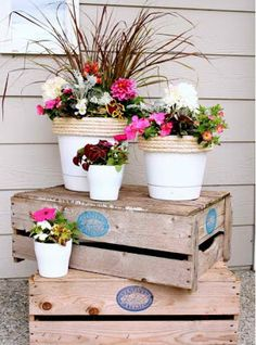 DIY Front Porch Garden Idea..just add some shells andstarfish for a beachy look (and/or use lobster pots)